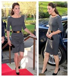 The Art of Accessorizing from HelenHou.com-Kate Middleton wore Grey Amanda Wakeley Sculpted Dress