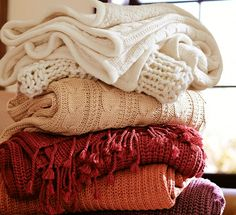 autumn throws, pottery barn cozy cable knit - hands down the best