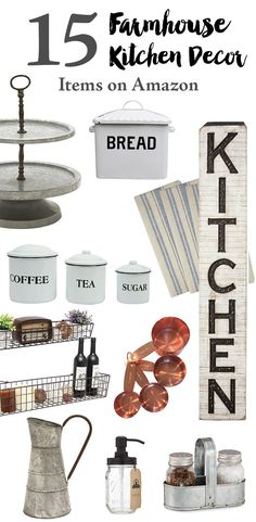 15 Farmhouse Kitchen Decor Items on Amazon. Perfect farmhouse decor for a kitchen renovation or just to decorate your home with.