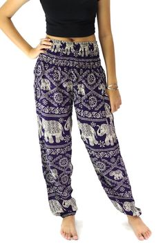 Dark purple heritage elephant art design hippie pants harem pants for women.    *** Bangkokpants Christmas & Happy New Year Promotion !!! (within