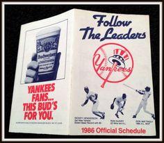 1986 NEW YORK YANKEES BUDWEISER BEER BASEBALL POCKET SCHEDULE EX+NM FREE SHIP #Pocket #Schedule