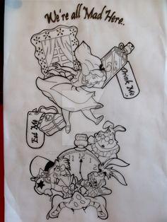 Alice in wonderland sleeve tat by Malitia-tattoo89 on DeviantArt