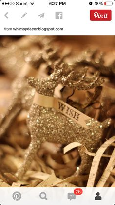 Glitter deer with tag
