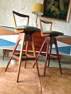 Mid Century Danish Vintage Retro TH Brown & Sons Timber Bar Stools x2 Parker Era