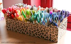*A Cute Way to Organize Your Nail Polish!* ---- this one is a shoebox divided into 20 sections using pieces of cardboard, she used clear fake nails (from Born Pretty Store) to paint her polish on so she could organize them by color. a quick way to find a certain polish you're looking for ----