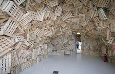 An art work by the Japanese artist Tadashi Kawamata, entitled Gandamaison, at the Marechalerie Centre of Contemporary Art, in Versailles, France