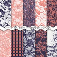 Love these coral and navy lace digital backgounds for designing planner stickers.