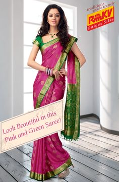 Pink Mysore silk saree with contrasting green border and pallu! With embose and jari butta on the body, this saree is a good choice for any traditional occasions. Order now - https://www.rmkv.com/product/mysore-silk153-12740