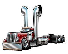 Peterbilt Big Rig Semi Truck Cartoon Tshirt 1027 Freight Hauler