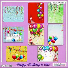 Happy Birthday to Me Journal Cards #JulieCDesigns #thestudio #digitalscrapbooking