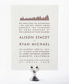 Mountain Skyline Letterpress Wedding Invitation