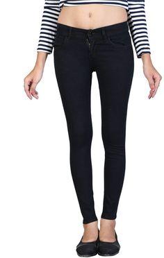 Women Girls Stretchable Slimfit Ankle Length Black BASIC Jeans
