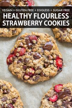 Fresh Strawberry Cookies made with oatmeal chocolate chips and sweetened with banana NO flour NO sugar and NO butter and comes with a keto and paleo option- Soft chewy and delicious cookies strawberries cookies oatmeal flourless chocolatechipcookies # Healthy Cookie Recipes, Healthy Cookies, Delicious Cookies, Healthy Desserts, Gourmet Recipes, Healthy Food, Healthy Strawberry Recipes, Low Calorie Cookies, Healthy Chips