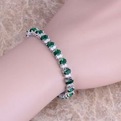 Wonderful Green Emerald White Topaz 925 Sterling Silver Overlay Link Chain Bracelet 7 inch Free Shipping & Jewelry Bag S0359