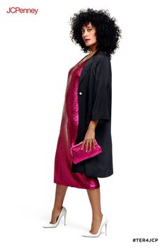 c394be4cdcf Turn up the glam with this hot pink matte sequin dress by Tracee Ellis Ross  for