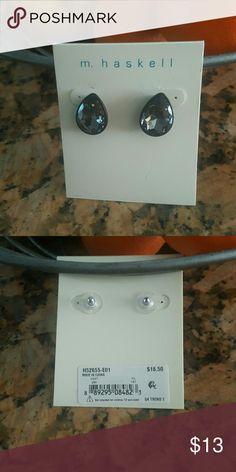 NWT Black Glass stone earrings. Black Glass earrings. Dime size. Never worn. m. haskell Jewelry Earrings