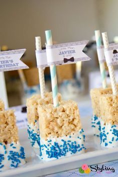 Rice Krispie treats at a little man 1st birthday party! See more party ideas at CatchMyParty.com!
