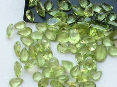 Peridot Cabochon Lot Oval Pear Faceted Peridot by gemsforjewels