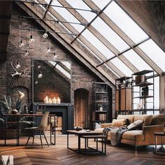 The concept of Industrial home design is very much in nowadays. Such a design not only makes your home look attractive but also enhances its beauty in each and every aspect. The Industrial home design Industrial Interior Design, Industrial House, Home Interior Design, Exterior Design, Interior Architecture, Industrial Style, Ikea Interior, Industrial Loft Apartment, Studio Interior
