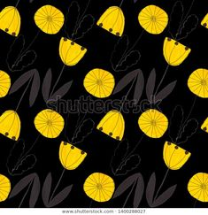 Abstract Flowers, Black Backgrounds, Illustration, Pattern, Image, Patterns, Illustrations, Model, Swatch