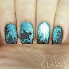 Copycat Claws: The Digit-al Dozen does Nature: Day 1 Sea Turtle Nail Art So Nails, Nails Opi, Fancy Nails, Hair And Nails, Turtle Nail Art, Turtle Nails, Stylish Nails, Trendy Nails, Acrylic Nail Designs