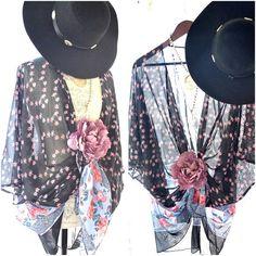 Festival Kimono, Romantic Bohemian gypsy Stevie Nicks style Fringed Kimono Jacket, Bohemian Beach clothes, Boho clothing True rebel clothing