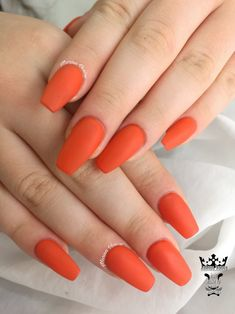 Orange matte nails  ##nails #onlycolor #orangenails #mattenails #nailaholic #naildone #ballerinanails #nailartist #marinaveniou #nailartseminars #trustthexperts #beautymakesyouhappy   www.kalliopeveniou.gr