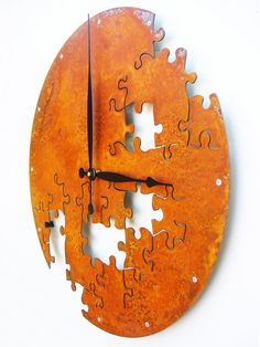 Puzzle Wall Clock V Extra Large Rusted Modern Wall Clock by All15Designs on Etsy