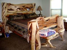 Driftwood Furniture: Practical Projects for Your Home and Garden - Driftwood 4 Us Log Bedroom Furniture, Cedar Furniture, Rustic Log Furniture, Driftwood Furniture, Custom Furniture, Modern Furniture, Furniture Design, Log Wood Projects, Homemade Furniture