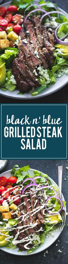 Black n' Blue Grilled Steak Salad (+5minute homemade blue cheese dressing) | lecremedelacrumb.com
