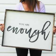 You Are Enough | Wood Sign farmhouse signs, rustic signs, fixer upper style, home decor, rustic decor, inspiring quotes, wood sign sayings, magnolia market, rustic signs, boho, boho style, eclectic living, living room inspiration, gallery wall decor, gallery wall signs, inspiring wood signs, inspiring quotes