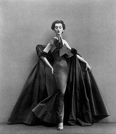 Dovima, evening dress by Fath, Paris studio, August 1950 | by skorver1