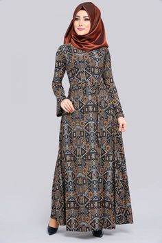 ** YENİ ÜRÜN ** Volan Kol Elbise Etnik Desen Siyah Ürün Kodu: TKM2567 --> 39.90 TL Batik Fashion, Abaya Fashion, Fashion Dresses, Muslim Women Fashion, Islamic Fashion, Hijab Dress Party, Modele Hijab, Abaya Designs, Muslim Dress