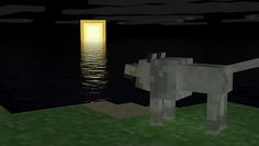 A wolf who's looking the Moon - Minecraft