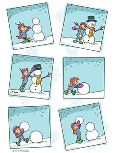 Help your kids learn the sequence of events with this winter-themed snowman sequencing worksheet. Cut out and arrange the pictures in the proper sequence. Story Sequencing Pictures, Story Sequencing Worksheets, Fun Worksheets For Kids, Sequencing Cards, Sequencing Activities, Preschool Learning Activities, Infant Activities, Learning English For Kids, Kids Learning