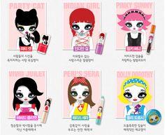 Mari Kim characters on the Peripera make-up packaging