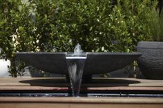Stainless steel chute details. 1m bowl Volcanic Rock, Water Features, Pond, Fountain, Garden Design, Stainless Steel, Outdoor Decor, Water Sources, Water Pond
