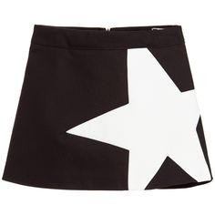MSGM Black & Ivory Cotton Star Skirt at Childrensalon.com