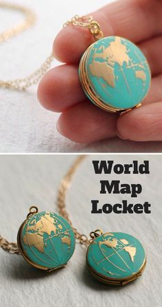 This globe locket would make a perfect travel inspired gift! #WorldMapLocket #ad #Wanderlust #travelgift