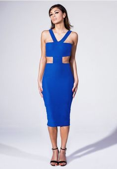 Missguided Cut Out Bodycon Midi Dress In Cobalt Blue in Blue | Lyst