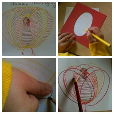 Metal Insets Extention: Thanksgiving Turkey.   Child traces thumb to make the turkey's head.  Fill it in with careful lines!