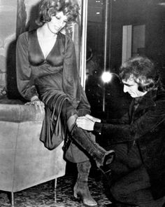 1970   Iva Zanicchi and Celestino Colombo (A.K.A. Celestino's)  Terrazza Martini (lounge bar), Milan  Boots by Celestino's