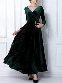 Elegant v-neck long sleeve maxi velvet dress for women in 2019 Cheap Maxi Dresses, Day Dresses, Casual Dresses, Prom Dresses, Sweater Dresses, Cute Casual Outfits, Long Dresses, Dress Long, Formal Dresses