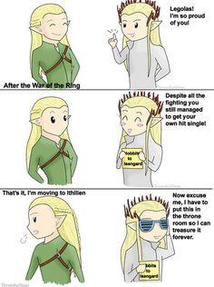 hahaha cartoon legolas and cartoon party  thranduil with hobbits to Isengard