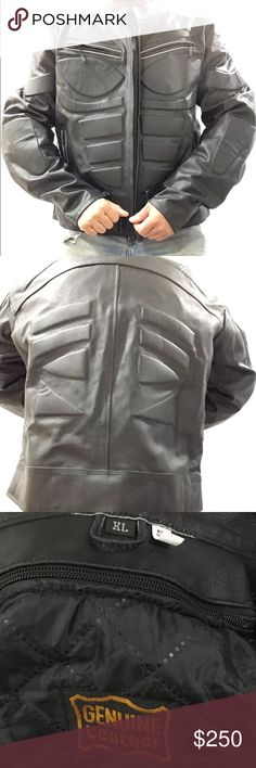 Protective Leather Motorcycle Jacket Men's XL This is 100% Leather Hide jacket with protective patches. Soft lining and lots of adjustment straps for comfortable riding. Reflective stitching throughout. New without Tags. Never Used genuine leather Jackets & Coats Performance Jackets