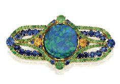 18 Karat Gold, Platinum, Opal, Sapphire And Garnet Brooch By Louis Comfort Tiffany, Tiffany  Co.,   Circa 1920