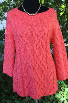 Ann-Taylor-Loft-Cable-Knit-Coral-Super-Soft-Cotton-Tunic-Sweater-Size-Small