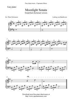 Free Sheet Music Scores: Free easy piano sheet music, Moonlight Sonata by Beethoven Free Piano Sheets, Easy Piano Sheet Music, Violin Sheet Music, Music Sheets, Piano Sheet Music Classical, Easy Piano Songs, Free Printable Sheet Music, Free Sheet Music, Piano Lessons