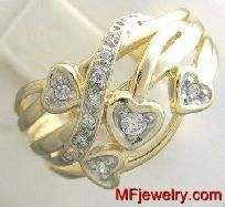 GENUINE DIAMOND RIGHT-HAND CLUSTER RING 14KT YELLOW GOLD lr32