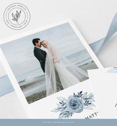 Elopement announcement template in lovely dusty blue florals. #dustybluewedding #weddinginvitations #elopementannouncement